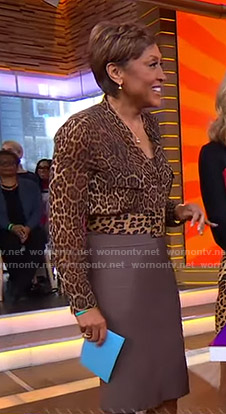 Robin's leopard print blouse and bandage skirt on Good Morning America