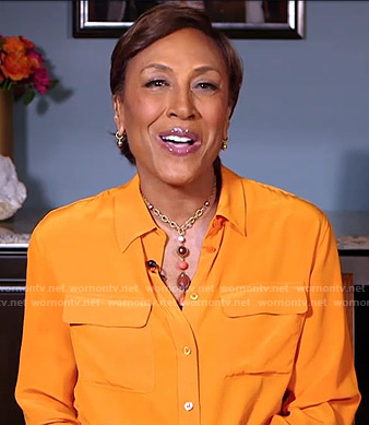 Robin's orange button down blouse on Good Morning America