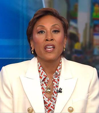 Robin's print blouse and white blazer on Good Morning America