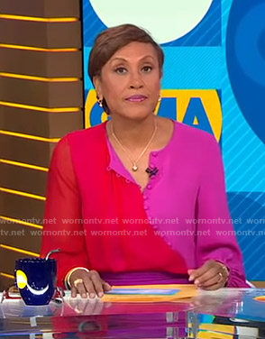 Robin's red and pink two-tone blouse on Good Morning America