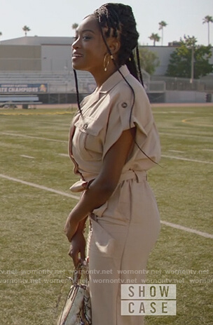 Rochelle's beige jumpsuit on All American