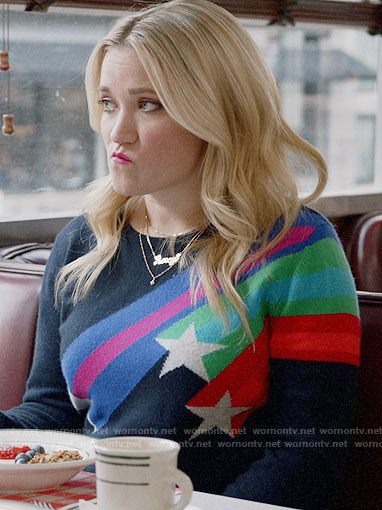Roxy's shooting star sweater on Almost Family