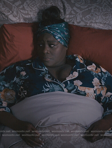Ruby's blue floral pajamas on Good Girls