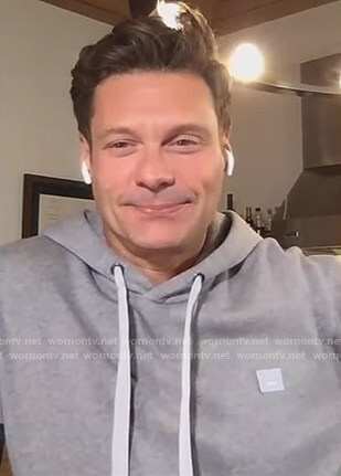 Ryan Seacrest's grey hoodie on Live with Kelly and Ryan