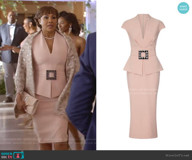Petrina Belted Crepe De Chine Dress by Safiyaa worn by Vivica A. Fox on Empire