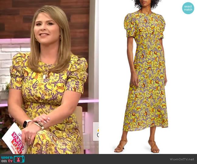 Bianca Silk Midi Dress by Saloni worn by Jenna Bush Hager  on Today