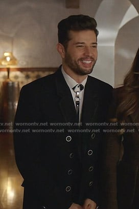Sam's black double breasted coat on Dynasty