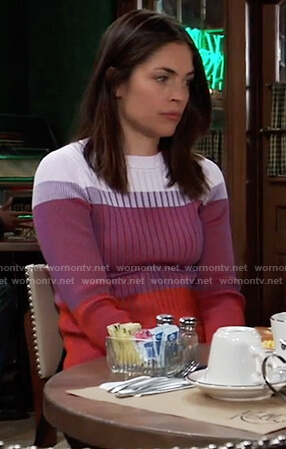 Britt's colorblock ribbed sweater on General Hospital
