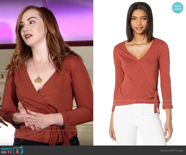 Sanctuary Emelie Textured Wrap Top worn by Mariah Copeland (Camryn Grimes) on The Young & the Restless