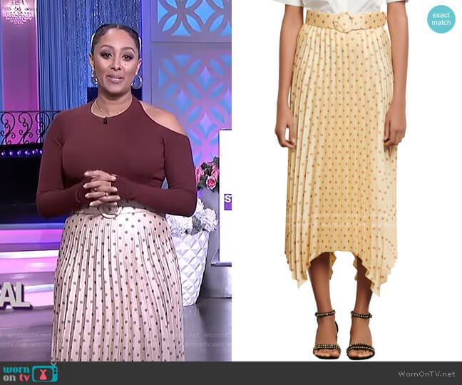 Polka Dot Pleat Skirt by Sandro worn by Tamera Mowry  on The Real