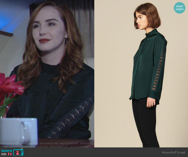 Sandro Blouse With Lace Inset worn by Mariah Copeland (Camryn Grimes) on The Young & the Restless