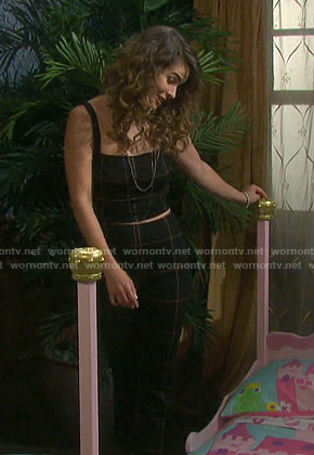 Sarah's black windowpane cropped top and pants on Days of our Lives