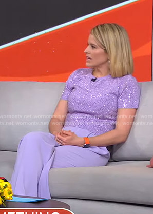 Sara's lilac embellished top and pants on GMA Strahan Sara And Keke