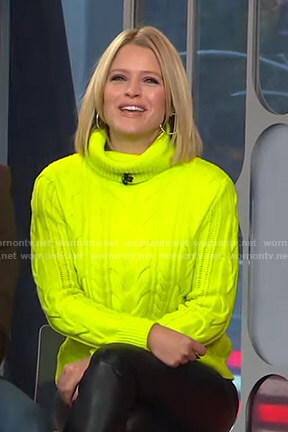 Sara's yellow neon turtleneck sweater on Good Morning America