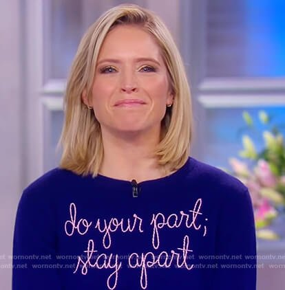Sara's blue stay apart sweater on The View