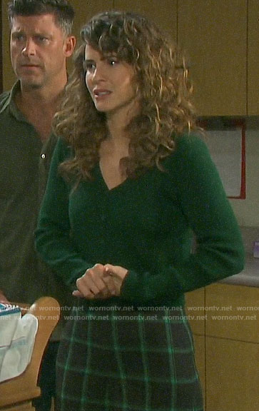 Sarah's green cardigan and checked pants on Days of our Lives