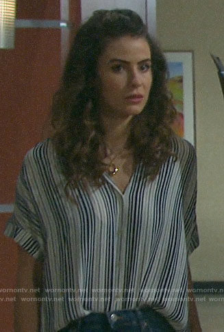 Sarah's striped button down shirt on Days of our Lives