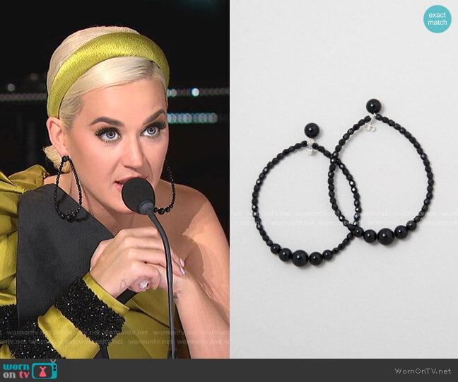 Drop Black Earrings by Saskia Diez worn by Katy Perry  on American Idol