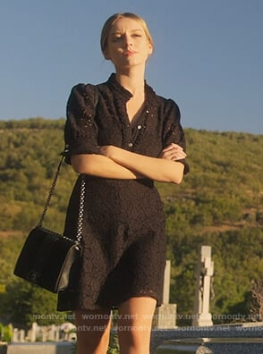 Carla's black lace button dress on Elite