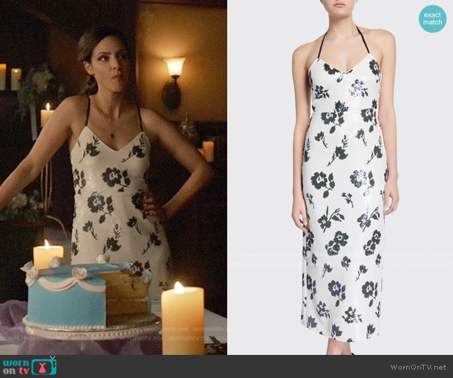 Self Portrait Sleeveless Floral Sequined Midi Dress worn by Zari Tomaz (Tala Ashe) on Legends of Tomorrow