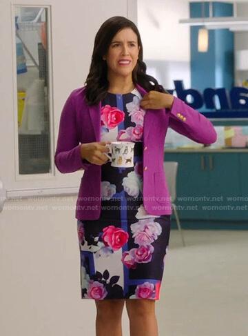 Shannon's blue floral sheath dress on Kims Convenience