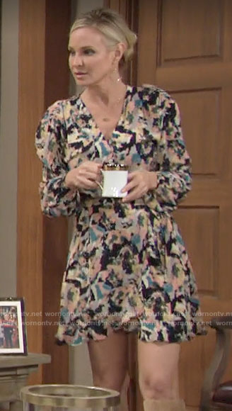 Sharon's abstract print long sleeve wrap dress on The Young and the Restless