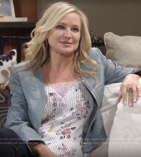 Sharon's floral lace detail top and blue leather jacket on The Young and the Restless
