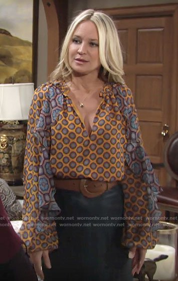 Sharon's yellow and blue mixed print blouse on The Young and the Restless