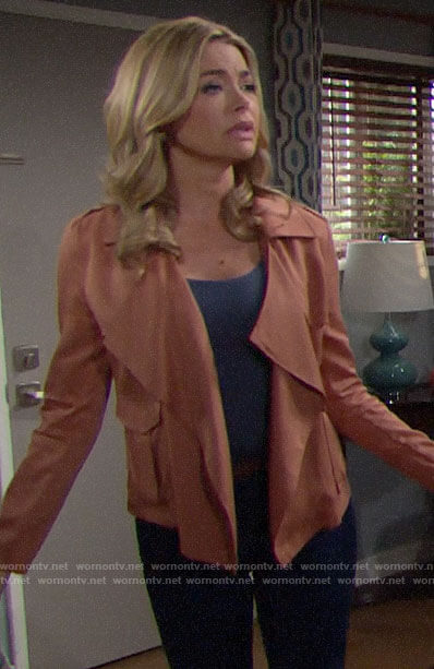 Shauna's tan draped jacket on The Bold and the Beautiful