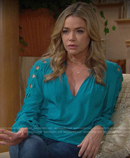 Shauna's turquoise cutout sleeve blouse on The Bold and the Beautiful