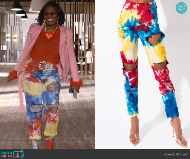 Circus Tie Dye High Rise Straight Leg Jeans by Akira Label worn by Porsha Taylor (Ta'Rhonda Jones) on Empire