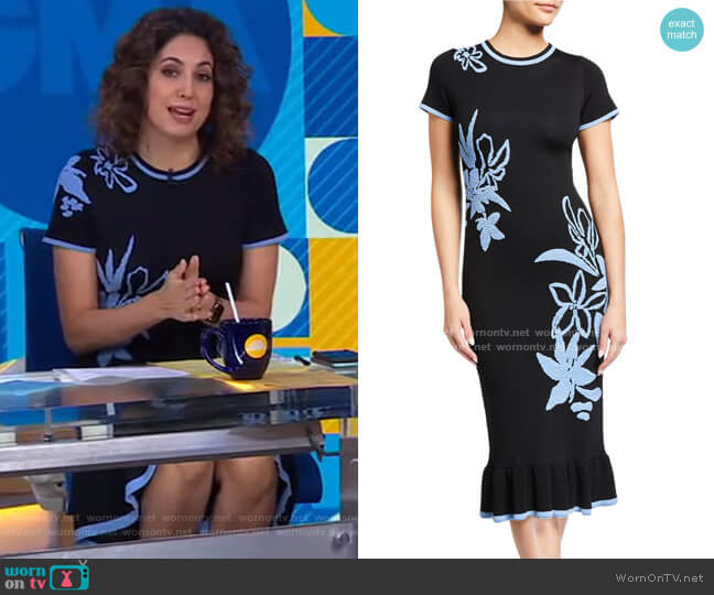 Leah Floral Jacquard Short-Sleeve Dress by Shoshanna worn by Cecilia Vega  on Good Morning America