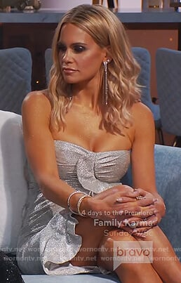 Jackie's silver ruffle strapless dress on The Real Housewives of New Jersey