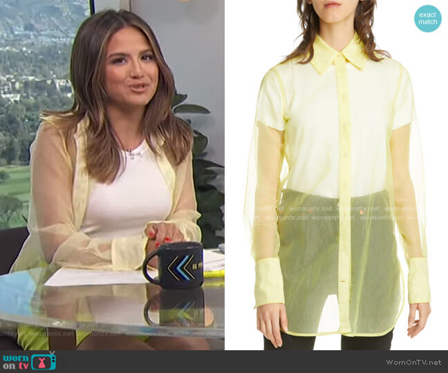 Rowena Sheer Long Sleeve Shirt by Simon Miller worn by Erin Lim  on E! News