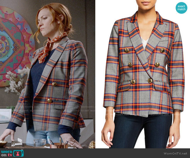 Smythe Mini Double-Breasted Plaid Blazer worn by Julia Bechley (Brittany Snow) on Almost Family