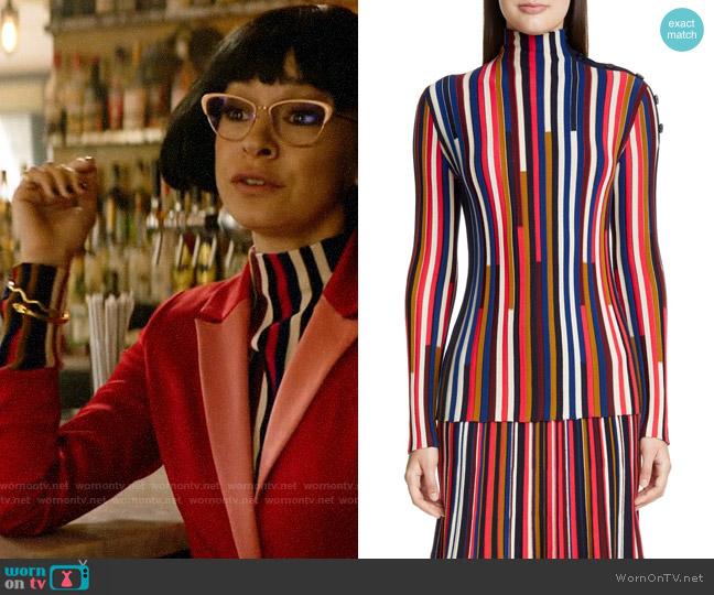 St John Collection Multicolor Fine Gauge Wool Turtleneck worn by Pepper Smith (Julia Chan) on Katy Keene