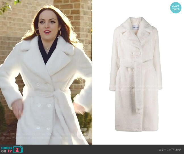 Faustine Double-Breasted Faux Fur Coat by Stand worn by Fallon Carrington (Elizabeth Gillies) on Dynasty
