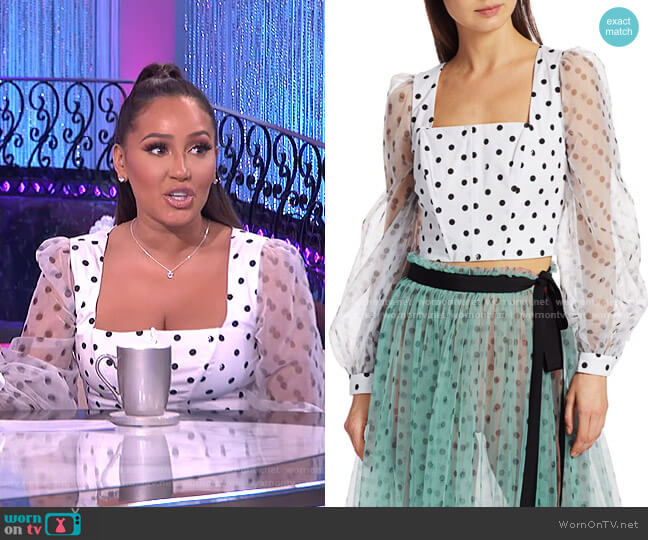 Rose Polka Dot Puff-Sleeve Organza Bustier Top by Staud worn by Adrienne Houghton  on The Real