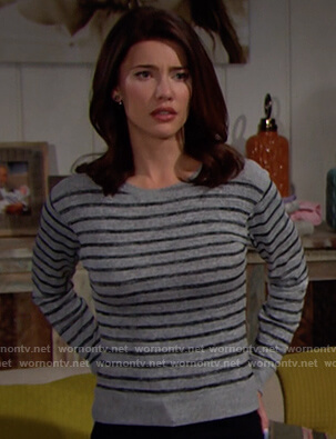 Steffy's grey striped sweater on The Bold and the Beautiful