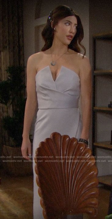 Steffy's grey strapless dress on The Bold and the Beautiful