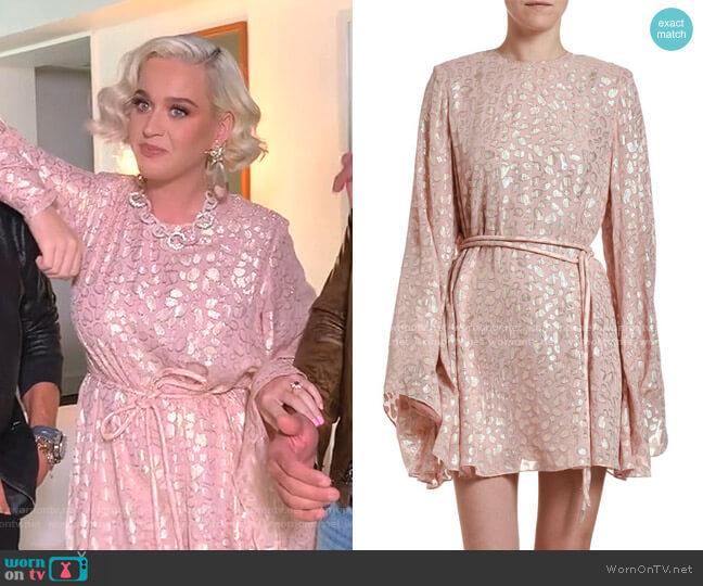 Metallic Animal-Spot Jacquard Silk Mini Dress by Stella McCartney worn by Katy Perry  on American Idol