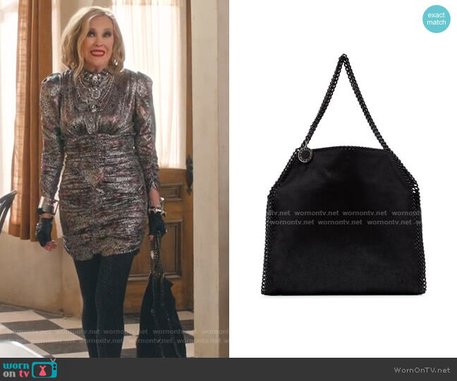 Faux Leather Shoulder Bag by Stella McCartney worn by Moira Rose (Catherine O'Hara) on Schitts Creek