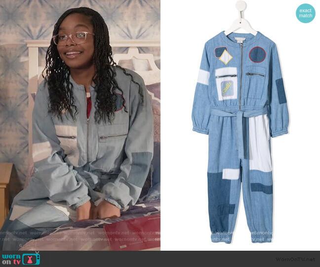Patchwork Denim Jumpsuit by Stella McCartney Kids worn by Diane Johnson (Marsai Martin) on Blackish