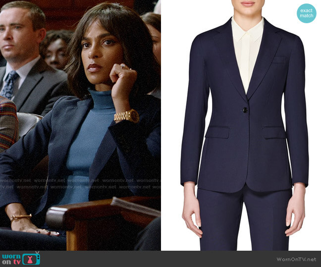 Suistudio Navy Cameron Single Breasted Wool Jacket worn by Edie Palmer (Megalyn Echikunwoke) on Almost Family
