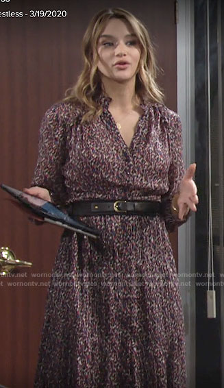 Summer's printed long sleeve midi dress on The Young and the Restless
