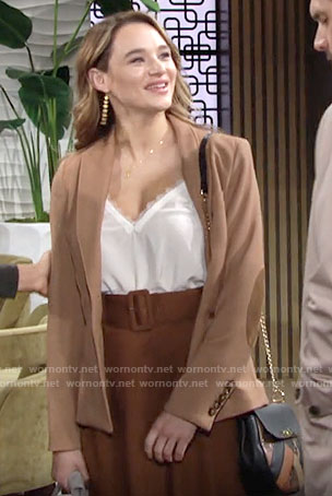 Summer's white lace-trim cami and camel blazer on The Young and the Restless