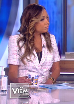 Sunny's tweed short sleeve blazer on The View