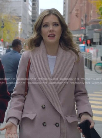 Sutton's pink ribbed lapel coat on The Bold Type
