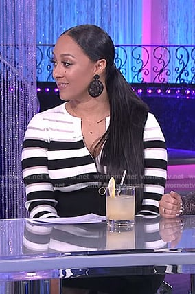 Tamera's black and white striped dress on The Real