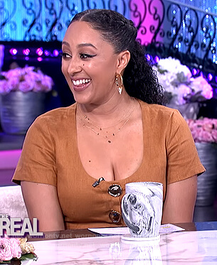 Tamera's brown button top and skirt on The Real